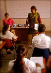Becky Mackintosh teaching at the NIILM University in India
